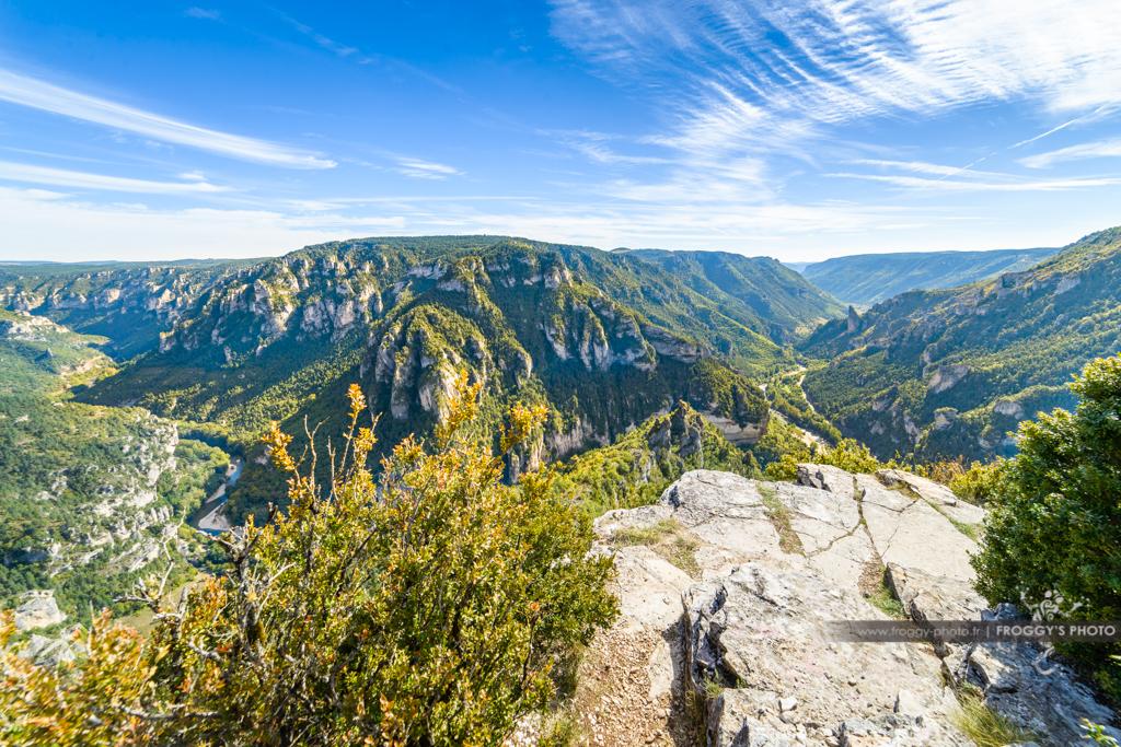 Panorama sur les Gorges du Tarn depuis le Point Sublime. Commune de Saint Georges de Lévejac
